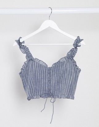 Gilli lace up crop top in navy gingham