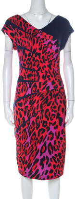 Escada Red Leopard Print Jersey Radiant Seam Dress M