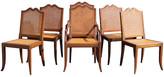 One Kings Lane Vintage Midcentury Carved Dining Chairs - Set of 6 - Something Vintage - brown