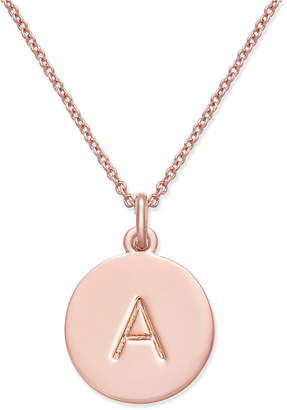 """Kate Spade Rose Gold-Tone Initial Disc Pendant Necklace, 18"""" + 2 1/2"""" Extender"""