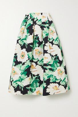 Oscar de la Renta - Pleated Floral-print Faille Midi Skirt - Green