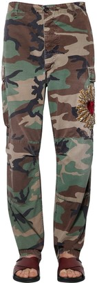 Dolce & Gabbana Heart Embroidered Camouflage Pants