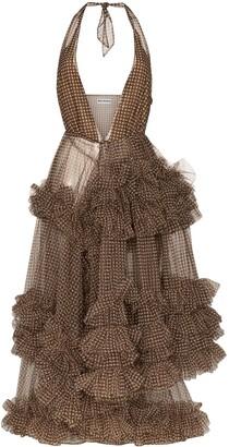 Molly Goddard Gingham Ruffled Midi Dress