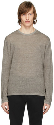 Ermenegildo Zegna Brown Linen Long Sleeve T-Shirt