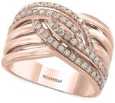 Effy Pavé Rose by Diamond Woven Ring (1/2 ct. t.w.) in 14k Rose Gold