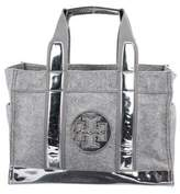 Tory Burch Patent Leather Wool Tote
