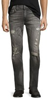 True Religion Geno Distressed Flap-Pocket Jeans, Gray Misfit