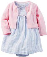 Carter's Baby Girl Striped Pom-Pom Trim Bodysuit Dress & Cardigan Set