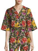 Etro Short Belted Floral-Print Topper