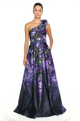 Marchesa Notte One Shoulder Printed Duchess Satin Gown