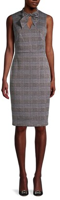 Calvin Klein Houndstooth Tie-Neck Sheath Dress