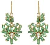 Suzanne Kalan White Diamond and Emerald Baguette Heart Drop Earrings - Yellow Gold