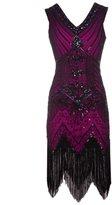 FAIRY COUPLE 1920s Flapper Double V-neck Sequined Rhinestone Embellished Fringed Dress D20S003(M,)