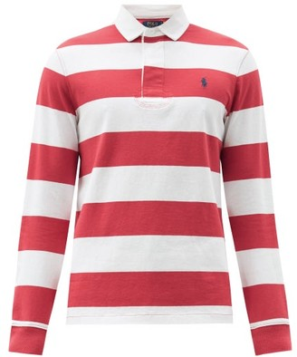 Polo Ralph Lauren Logo-embroidered Striped Cotton-jersey Rugby Shirt - Red White