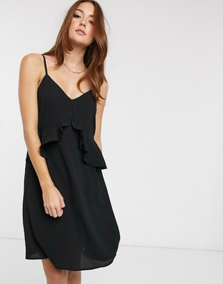 Vero Moda ruffle cami dress-Black