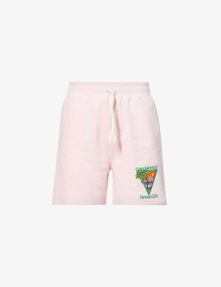 Casablanca Tennis Club graphic-print high-rise organic cotton-jersey shorts