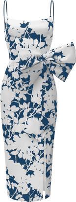 Rasario Bow-Embellished Printed Satin Dress