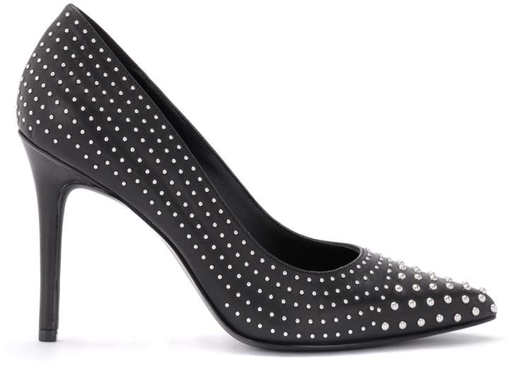 Michael Kors Decollete By Claire Pump In Black Leather With Studs