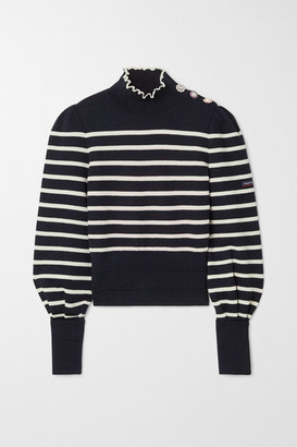 Marc Jacobs Armor-lux Embellished Striped Wool Turtleneck Sweater - Midnight blue