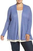 Eileen Fisher Ribbed Tencel ® Lyocell Blend Cardigan (Plus Size)