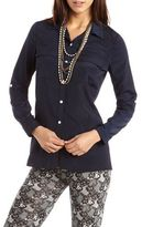 Charlotte Russe Button-Down Roll-Cuff Utility Blouse