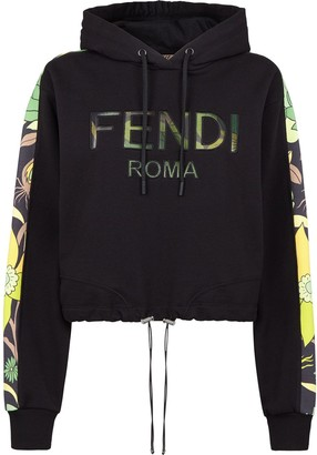 Fendi Floral Logo Cropped Hoodie