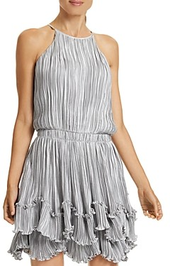 Halston Pleated Metallic Dress