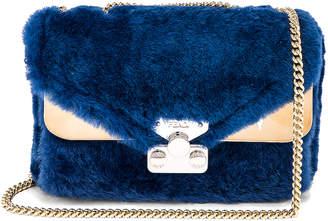 Fendi Small Shearling Bug Bag in Cobalt | FWRD
