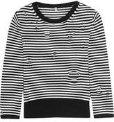 R 13 Distressed Striped Cashmere Sweater