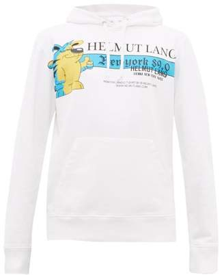 Helmut Lang Radio Print Cotton Hooded Sweatshirt - Mens - White