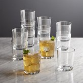 Crate & Barrel Rings Double Old-Fashioned Glasses, Set of 12