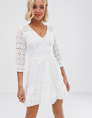 Parisian wrap front white dress in broderie anglaise