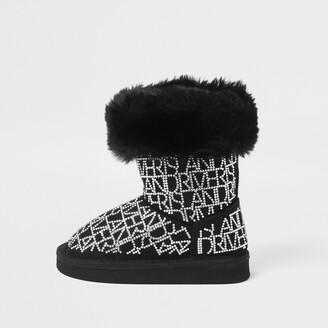 River Island Mini girls Black embellished faux fur boots