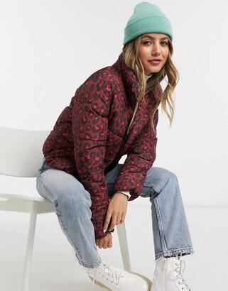 JDY Erica printed padded jacket in leopard print