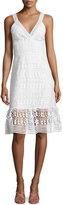 Diane von Furstenberg Tiana Sleeveless Lace Flounce Dress, White