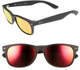 Ray-Ban Men's 2132 55Mm Sunglasses - Black/ Brown Mirror Red