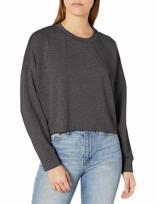 Tresics Women's Trendy Basic Junior Oversized Long Sleeve Raw Edge Hem Cropped Top
