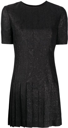 Saint Laurent Embroidered Pleated Dress