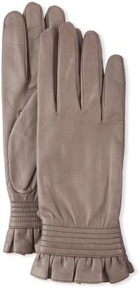Portolano Ruffled Napa Leather Gloves
