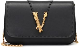 Versace Virtus leather shoulder bag