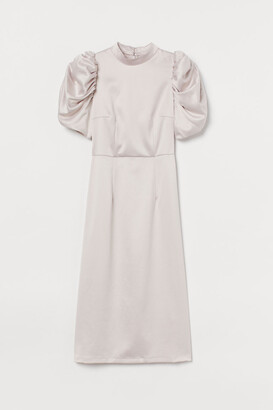 H&M Puff-sleeved Satin Dress - Pink