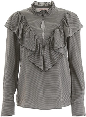 See by Chloe Houndstooth Ruffled Trim Blouse