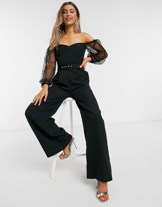 Paper Dolls tailored bardot jumpsuit with exaggerated sleeve in black