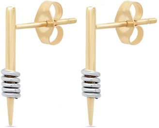 Elliot Young Fine Jewelry 14K Yellow Gold Wrap Me Up Dagger Stud Earrings With White Gold Wraps