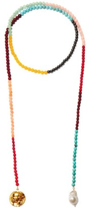 Timeless Pearly Pearl & 24kt Gold-plated Beaded Lariat Necklace - Multi