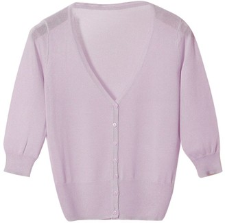 Penggeng Women Jersey Basic Cardigan Button Down V Neck Plain Sweater Purple 2XL