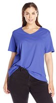 Fresh Women's Plus-Size Basic V-Neck Solid T-Shirt