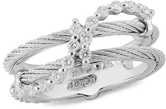 Alor 18K & Stainless Steel Diamond Ring