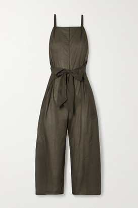 Skin Brisa Tie-front Cotton-voile Jumpsuit - Army green