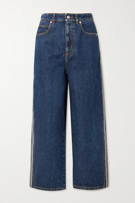 Alexander McQueen Striped High-rise Wide-leg Jeans - Blue